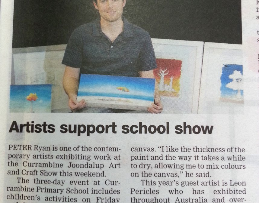Peter Ryan with is original artwork in an article for Currambine Art Show